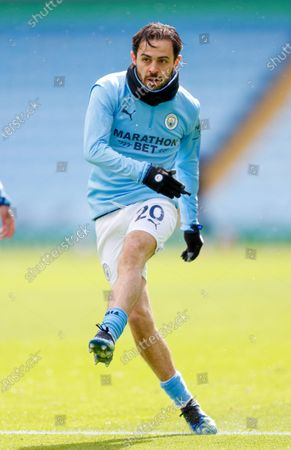 Manchester City midfielder Bernardo Silva (20)  warming up  at the Premier League match between Manchester City and Leeds United at the Etihad Stadium, Manchester