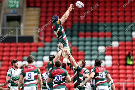 Leicester Tigers vs Newcastle Falcons. Leicester Tigers' George Martin in a line-out