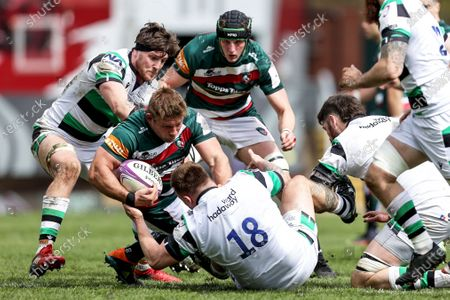 Leicester Tigers vs Newcastle Falcons. Leicester Tigers' Tom Youngs is tackled by Mark Tampin of the Newcastle Falcons
