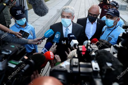(210410) - LISBON, April 10, 2021 (Xinhua) - Portugal's form Prime Minister Jose Socrates speaks to journalists as leave a court in Lisbon, Portugal, April 9, 2021. Jose Socrates will be the country's first head of government to stand trial, having been indicted for money laundering and forgery of documents, according to a decision by Judge Ivo Rosa on Friday.