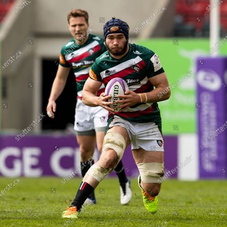 Stock Image of George Martin of Leicester Tigers carries the ball