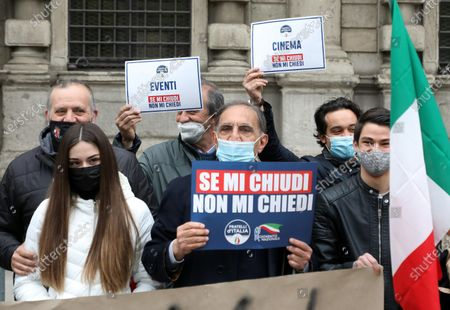 Ignazio La Russa of Fratelli D'Italia party attend a protest against COVID-19 pandemic restrictions in Piazza della Scala, in Milan, Italy, 10 April 2021.