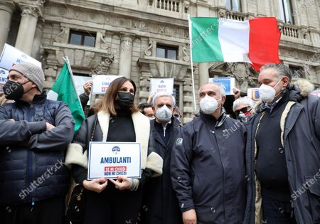 Daniela Santanche by Fratelli D'Italia party attends a protest against COVID-19 pandemic restrictions in Piazza della Scala, in Milan, Italy, 10 April 2021.