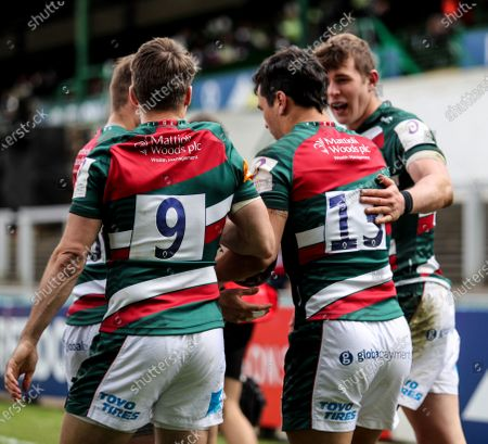 Leicester Tigers vs Newcastle Falcons. Leicester's Matias Moroni celebrates after scoring a try with Richard Wigglesworth