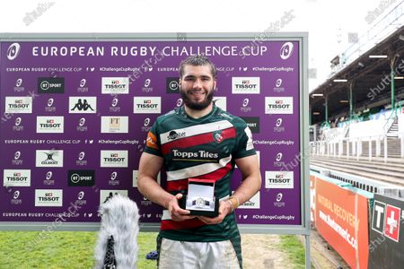 Leicester Tigers vs Newcastle Falcons. Leinster's George Martin is presented with the European Rugby Challenge Cup Player of the Match Award