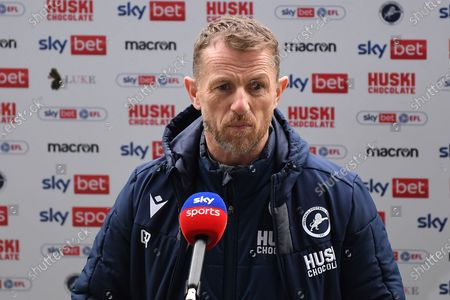 Millwall Manager Gary Rowett  during the EFL Sky Bet Championship match between Millwall and Swansea City at The Den, London