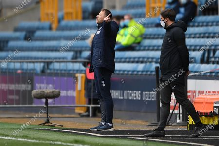 Millwall Manager Gary Rowett pointing, directing, signalling, gesture in the technical area during the EFL Sky Bet Championship match between Millwall and Swansea City at The Den, London