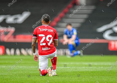 Bristol City defender Danny Simpson (29)  takes the knee before kick off  during the EFL Sky Bet Championship match between Bristol City and Nottingham Forest at Ashton Gate, Bristol