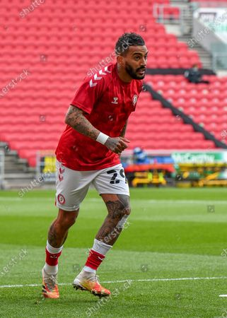 Bristol City defender Danny Simpson (29) warming up ahead of  during the EFL Sky Bet Championship match between Bristol City and Nottingham Forest at Ashton Gate, Bristol