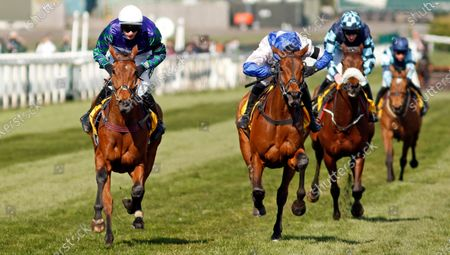 THYME HILL (left, Tom O'Brien) beats ROKSANA (centre) in The Ryanair Stayers Hurdle Aintree