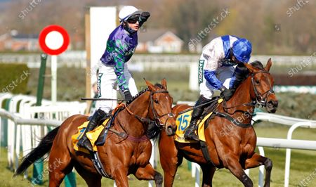 THYME HILL (left, Tom O'Brien) beats ROKSANA (right) in The Ryanair Stayers Hurdle Aintree