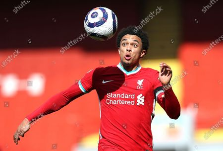 Liverpool's Trent Alexander-Arnold in action during the English Premier League soccer match between Liverpool and Aston Villa at Anfield stadium in Liverpool, England