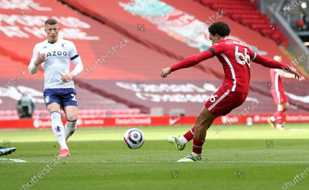 Stock Picture of Liverpool's Trent Alexander-Arnold scores his side's second goal during the English Premier League soccer match between Liverpool and Aston Villa at Anfield stadium in Liverpool, England