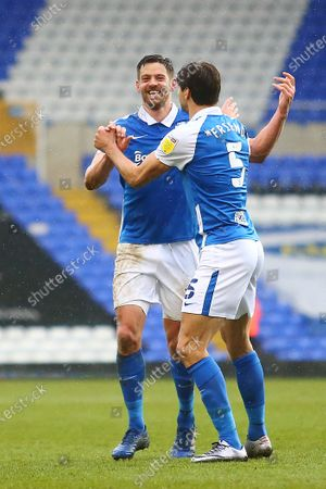 Stock Picture of Birmingham City forward Lukas Jutkiewicz (10) and Birmingham City defender George Friend (5) celebrate after the final whistle  during the EFL Sky Bet Championship match between Birmingham City and Stoke City at the Trillion Trophy Stadium, Birmingham
