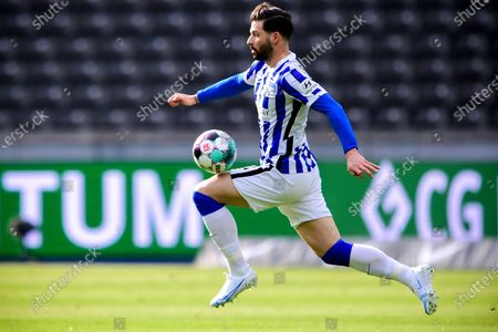 Stock Image of Hertha's Marvin Plattenhardt in action during the German Bundesliga soccer match between Hertha BSC and Borussia Moenchengladbach in Berlin, Germany, 10 April 2021.