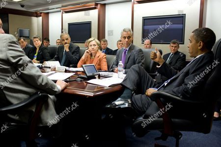 President Barack Obama attends a terrorism threat briefing in the Situation Room of the White House.  Left to right, National Security Advisor Gen. James Jones, CIA Director Leon Panetta, Homeland Security Secretary Janet Napolitano, Attorney General Eric Holder, Secretary of State Hillary Clinton and Chief of Staff Rahm Emanuel.