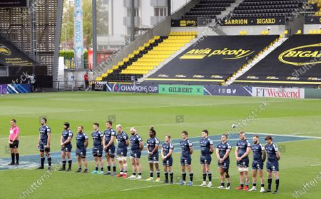 Stock Image of La Rochelle vs Sale Sharks. Sale Sharks stand for a moments silence in memory of Prince Philip, Duke of Edinburgh, who passed away yesterday