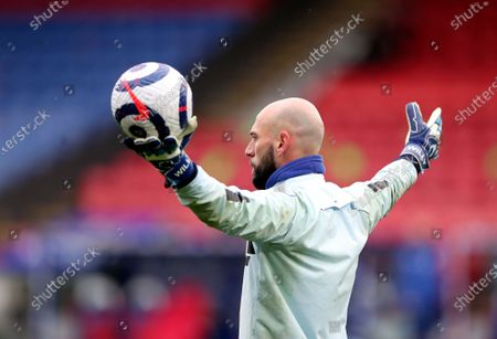 Stock Picture of Chelsea's Willy Caballero during warm up before the English Premier League soccer match between Crystal Palace and Chelsea at Selhurst Park stadium in London