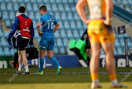 Stock Photo of Exeter Chiefs vs Leinster. Leinster's Johnny Sexton leaves the field due to an injury