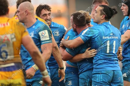 Stock Picture of Exeter Chiefs vs Leinster. Leinster's Jack Conan, James Tracy and Ed Byrne celebrate winning a penalty