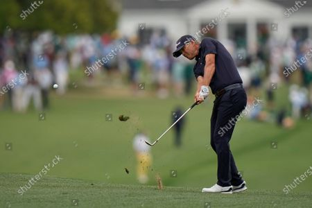 Matt Jones, of Australia, hits on the first hole during the third round of the Masters golf tournament, in Augusta, Ga