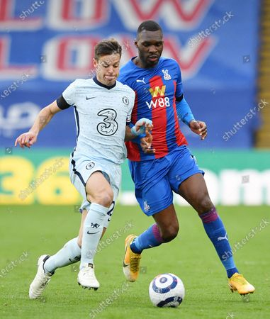 Stock Image of Christian Benteke of Crystal Palace (R) in action against Cesar Azpilicueta of Chelsea (L) during the English Premier League match between Crystal Palace and Chelsea in London, Britain, 10 April 2021.