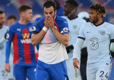 Luka Milivojevic of Crystal Palace (C) reacts at the end of the English Premier League match between Crystal Palace and Chelsea in London, Britain, 10 April 2021.
