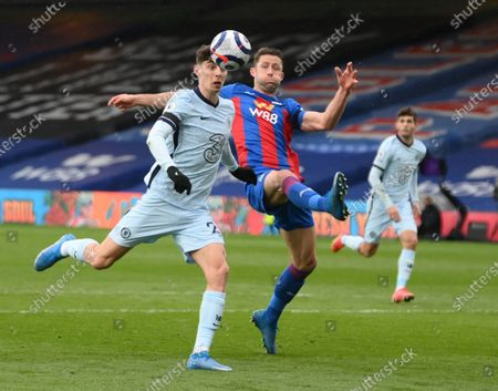 Stock Image of Gary Cahill of Crystal Palace (R) in action against Kai Havertz of Chelsea (L) during the English Premier League match between Crystal Palace and Chelsea in London, Britain, 10 April 2021.