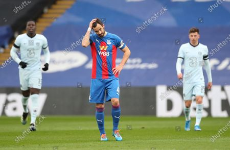 Luka Milivojevic of Crystal Palace (C) reacts during the English Premier League match between Crystal Palace and Chelsea in London, Britain, 10 April 2021.