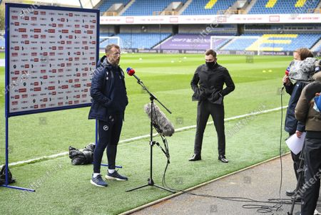 Gary Rowett manager of Millwall is interviewed for Sky Sports