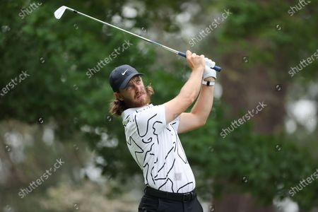 Tommy Fleetwood of England hits his tee shot on the fourth hole during the third round of the 2021 Masters Tournament at the Augusta National Golf Club in Augusta, Georgia, USA, 10 April 2021. The 2021 Masters Tournament is held 08 April through 11 April 2021.