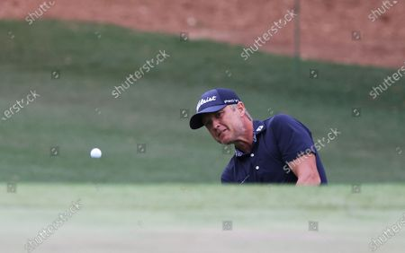 Matt Jones of Australia chips on the third hole during the third round of the 2021 Masters Tournament at the Augusta National Golf Club in Augusta, Georgia, USA, 10 April 2021. The 2021 Masters Tournament is held 08 April through 11 April 2021.
