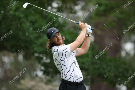 Tommy Fleetwood of England his tee shot on the fourth hole during the third round of the 2021 Masters Tournament at the Augusta National Golf Club in Augusta, Georgia, USA, 10 April 2021. The 2021 Masters Tournament is held 08 April through 11 April 2021.
