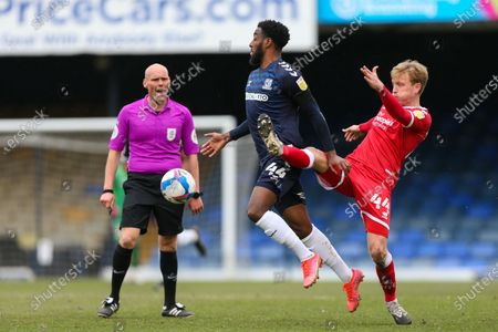 Nathan Ferguson of Southend United holds off a challenge from Josh Wright of Crawley Town