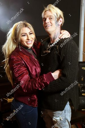 Aaron Carter posing with his fiancé, Melanie Martin after discussing his upcoming June 12, 2021 Showboat Hotel in Atlantic City Celebrity Boxing match with Lamar Odom on A Good Time podcast with Ryan Banks