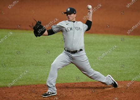 New York Yankees relief pitcher Justin Wilson during the fifth inning of a baseball game against the Tampa Bay Rays, in St. Petersburg, Fla