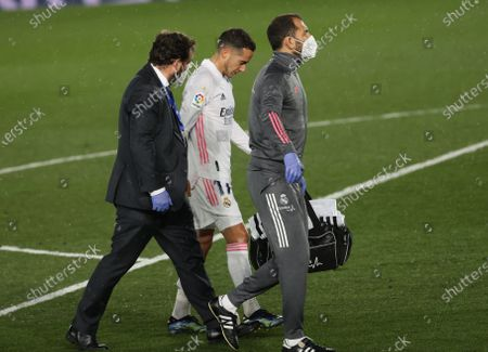 Stock Image of Real Madrid´s Lucas Vazquez (C) leaves the pitch during the Spanish LaLiga soccer match between Real Madrid and FC Barcelona at Alfredo di Stefano stadium in Madrid, Spain, 10 April 2021.
