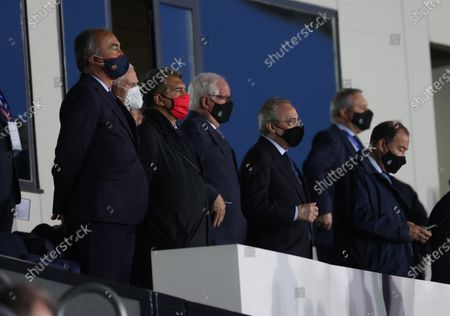 Real Madrid's President Florentino Perez (3-R) ahead of the Spanish LaLiga soccer match between Real Madrid and FC Barcelona at Alfredo di Stefano stadium in Madrid, Spain, 10 April 2021.