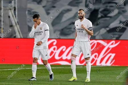 Karim Benzema and Lucas Vazquez of Real Madrid