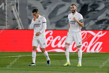 Stock Picture of Karim Benzema of Real Madrid celebrates after scoring the 1-0 with his teammate Lucas Vazquez