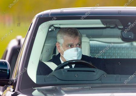 Prince Andrew, Duke of York in Mourning arrives at Windsor Castle