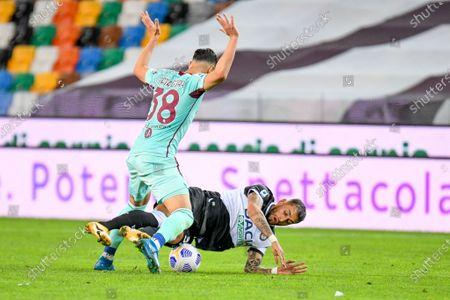 Foul of Rolando Mandragora (Torino) on Roberto Pereyra (Udinese)