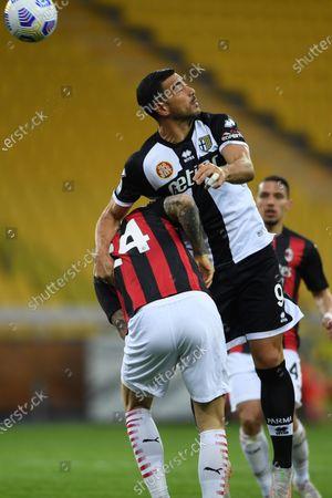 "Graziano Pelle (Parma)Simon Kjaer (Milan)           during the Italian ""Serie A"" match between Parma 1-3 Milan at  Ennio Tardini Stadium in Parma, Italy."