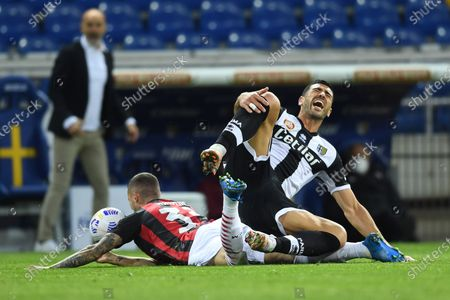 """Stock Picture of Rade Krunic  (Milan)Graziano Pelle (Parma)           during the Italian """"Serie A"""" match between Parma 1-3 Milan at  Ennio Tardini Stadium in Parma, Italy."""