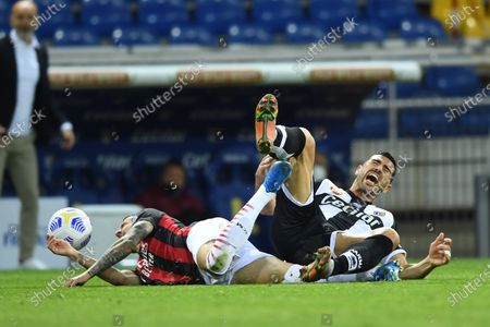 "Stock Image of Rade Krunic  (Milan)Graziano Pelle (Parma)             during the Italian ""Serie A"" match between Parma 1-3 Milan at  Ennio Tardini Stadium in Parma, Italy."