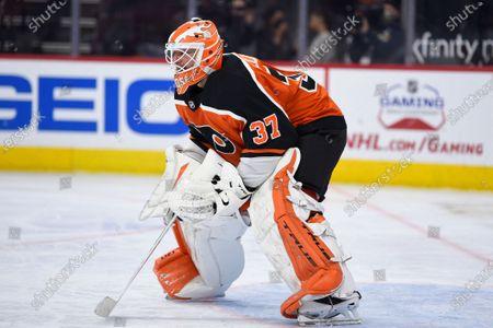 Stock Image of Philadelphia Flyers goaltender Brian Elliott during an NHL hockey game against the Boston Bruins, in Philadelphia