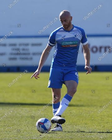 Jason Taylor of Barrow    during the Sky Bet League 2 match between Barrow and Carlisle United at Holker Street, Barrow-in-Furness, England on 10th April 2021.