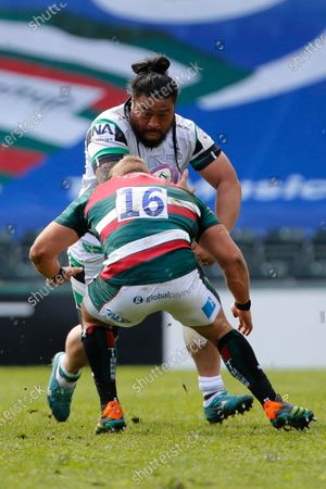 Stock Picture of Logovi'I Mulipola of Newcastle Falcons runs at Tom Youngs of Leicester Tigers during the European Rugby Challenge Cup Quarter Final match between Leicester Tigers and Newcastle Falcons at Welford Road, Leicester, England on 10th April 2021.