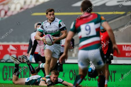 Ben Stevenson of Newcastle Falcons looks to take on Richard Wigglesworth of Leicester Tigers during the European Rugby Challenge Cup Quarter Final match between Leicester Tigers and Newcastle Falcons at Welford Road, Leicester, England on 10th April 2021.