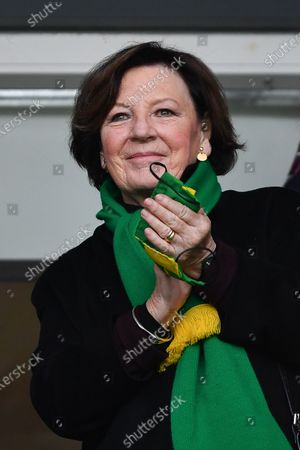 Delia Smith of Norwich City celebrates victory during the Sky Bet Championship match between Derby County and Norwich City at the Pride Park, Derby, England on 10th April 2021.